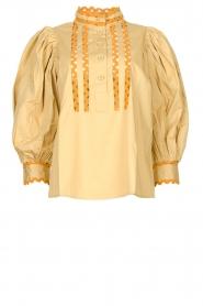 Antik Batik | Poplin blouse met pofmouwen Mali  | donkerbeige  | Afbeelding 1