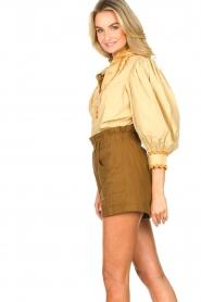 Antik Batik | Poplin blouse met pofmouwen Mali  | donkerbeige  | Afbeelding 7
