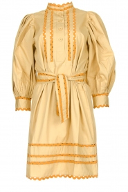 Antik Batik |  Poplin dress with puff sleeves Mali | yellow  | Picture 1