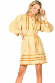 Antik Batik |  Poplin dress with puff sleeves Mali | yellow  | Picture 5