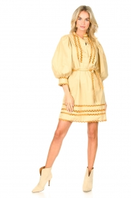 Antik Batik |  Poplin dress with puff sleeves Mali | yellow  | Picture 3