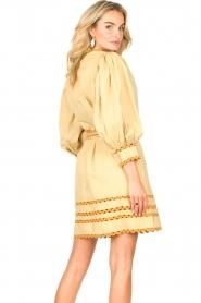 Antik Batik |  Poplin dress with puff sleeves Mali | yellow  | Picture 7