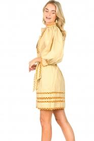 Antik Batik |  Poplin dress with puff sleeves Mali | yellow  | Picture 6