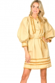 Antik Batik |  Poplin dress with puff sleeves Mali | yellow  | Picture 2