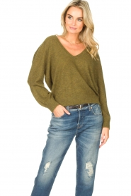 American Vintage    Basic sweater with V-necked Kybird   green    Picture 2