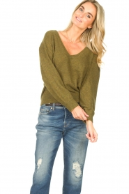 American Vintage    Basic sweater with V-necked Kybird   green    Picture 4