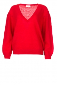 American Vintage |  Basic sweater with V-necked Kybird | red  | Picture 1