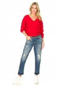 American Vintage |  Basic sweater with V-necked Kybird | red  | Picture 3