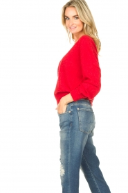 American Vintage |  Basic sweater with V-necked Kybird | red  | Picture 6