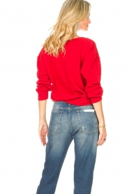American Vintage |  Basic sweater with V-necked Kybird | red  | Picture 7