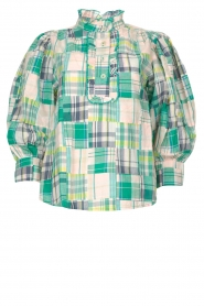 Antik Batik |  Checkered cotton blouse Alama | green  | Picture 1