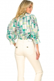 Antik Batik |  Checkered cotton blouse Alama | green  | Picture 7