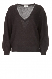 American Vintage |  Basic sweater with V-necked Kybird | black  | Picture 1