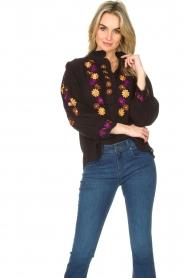 Antik Batik |  Crepe blouse with floral embroideries July | black  | Picture 2