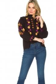 Antik Batik |  Crepe blouse with floral embroideries July | black  | Picture 6