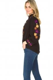 Antik Batik |  Crepe blouse with floral embroideries July | black  | Picture 3