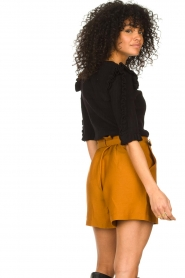 Antik Batik |  Linen high waist shorts Oscar | brown  | Picture 5