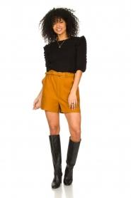 Antik Batik |  Linen high waist shorts Oscar | brown  | Picture 3