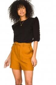 Antik Batik |  Linen high waist shorts Oscar | brown  | Picture 2