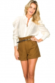 Copenhagen Muse |  Broderie blouse with puff sleeves Ultra | natural  | Picture 5