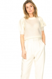 Copenhagen Muse |  Knitted top with puff sleeves Diva | white  | Picture 2