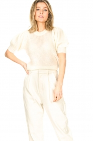 Copenhagen Muse |  Knitted top with puff sleeves Diva | white  | Picture 5