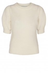 Copenhagen Muse |  Knitted top with puff sleeves Diva | white  | Picture 1