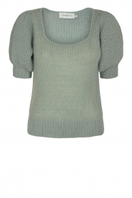 Copenhagen Muse |  Knitted top with puff sleeves Diva | blue  | Picture 1