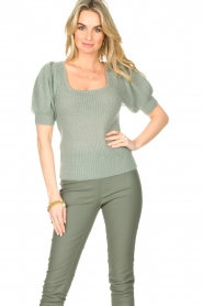 Copenhagen Muse |  Knitted top with puff sleeves Diva | blue  | Picture 2