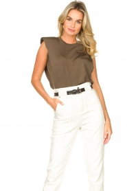 Copenhagen Muse |  Sleeveless top with shoulder pads Nat | brown  | Picture 2
