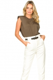 Copenhagen Muse |  Sleeveless top with shoulder pads Nat | brown  | Picture 4