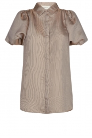 Copenhagen Muse |  Shiny blouse with puff sleeves San | gold  | Picture 1