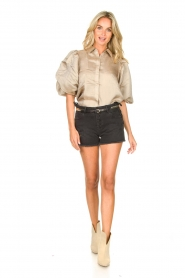Copenhagen Muse |  Shiny blouse with puff sleeves San | gold  | Picture 3