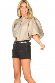 Copenhagen Muse    Shiny blouse with puff sleeves San   gold    Picture 4