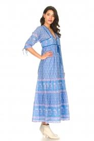 Antik Batik |  Cotton maxi dress with floral print Mori | blue  | Picture 4