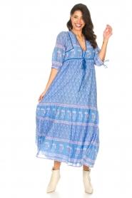 Antik Batik |  Cotton maxi dress with floral print Mori | blue  | Picture 3