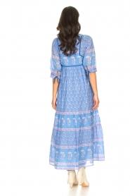 Antik Batik |  Cotton maxi dress with floral print Mori | blue  | Picture 5