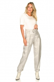 IRO |  Linen paperbag pants Najava | grey  | Picture 4