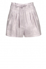 IRO |  Linen short with pleats Lafa | purple  | Picture 1