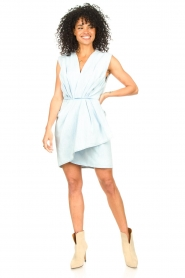 IRO |  Dress with pleates Marg | blue  | Picture 3