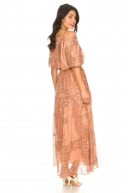 ba&sh :  Maxi skirt with lurex Obbie | salmon pink - img6