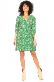 ba&sh :  Dress with floral print Paz | green - img3