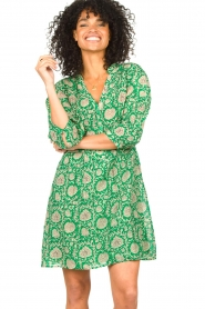 ba&sh :  Dress with floral print Paz | green - img5