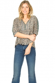 ba&sh |  Top with floral print Tobias | blue  | Picture 2
