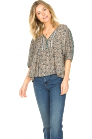 ba&sh |  Top with floral print Tobias | blue  | Picture 5
