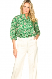 ba&sh |  Blouse with print Panama | green  | Picture 2