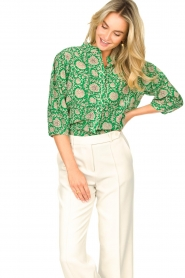 ba&sh |  Blouse with print Panama | green  | Picture 4