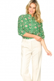 ba&sh |  Blouse with print Panama | green  | Picture 5