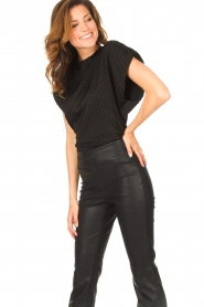 Freebird |  Top with checkered print Giada | black  | Picture 2
