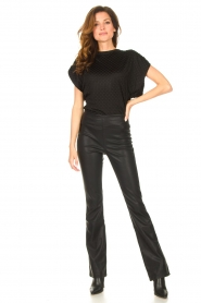 Freebird |  Top with checkered print Giada | black  | Picture 3
